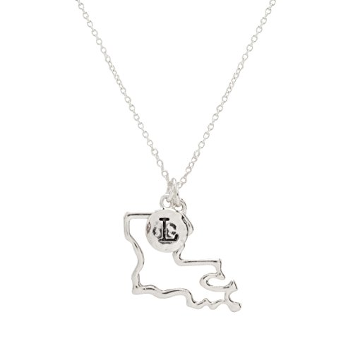 (Elosee State Map Cutout Necklace 18 Inch)