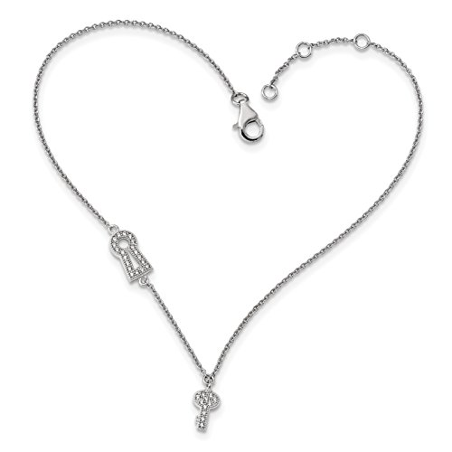 ICE CARATS 925 Sterling Silver Cubic Zirconia Cz Lock/key Anklet Ankle Beach Chain Bracelet 1 Inch Adjustable Plus Size Extender Fine Jewelry Gift Set For Women Heart