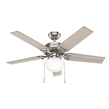 Image of Home Improvements Hunter Indoor Ceiling Fan with LED Light and pull chain control - Viola 52 inch, Brushed Nickel, 53419