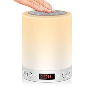 5 EN 1 Lampe de Chevet Tacile Rechargeable Portable,JOLVVN Lampe de Table Enceinte Bluetooth Musique USB FM Radio Réveil…