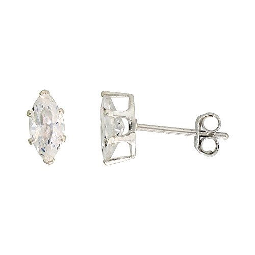 Sterling Silver Cubic Zirconia Marquise Earrings Studs 3/4 carat/pair (Marquise Zirconia Stud Cubic)