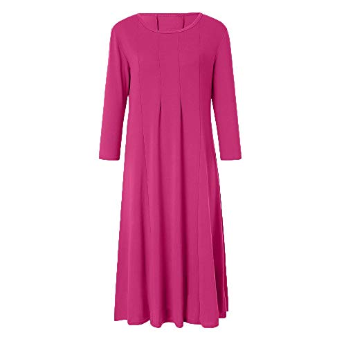 TOTOD Dress, Womens Casual 3/4 Sleeve Loose Dresses - Ladies Evening Long Maxi Dress 14 Colors Hot Pink ()