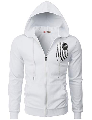H2H Mens Casual Zip-up Hoodie Double Cotton Lightweight American Flag Printed Hooded White US 2XL/Asia 3XL (CMOHOL065) ()