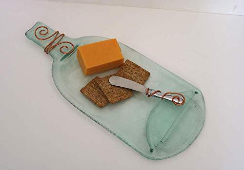 Cheese Board Flattened Bottle Platter Clear Glass Recycled Bottle Wire -