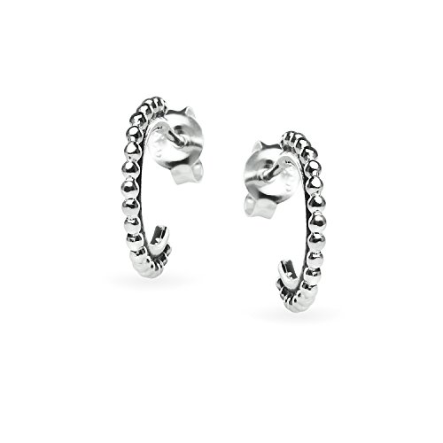 Sterling Silver Beaded Half Hoop Earrings, One Pair Set Men Women (Half Hoop Earring Set)