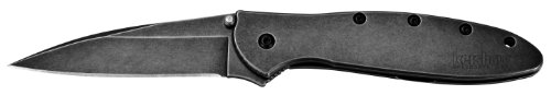 "Kershaw Leek, BlackWash Pocket Knife (1660BLKW); 3"" Sandvik 14C28N Steel Blade, 410 Stainless Steel Handle,..."