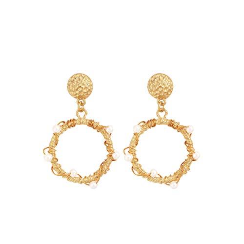 Jocund Women Fashion Elegant Bohemian Metal Pearl Love Geometry Star Earrings Women's Jewelry
