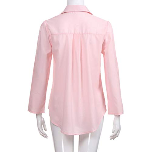 Ningsun Donna Pulsante Maglietta Casual T Pink lunga Solido Risvolto Camicia Shirt sciolto Donne Top Camicia Eleganti Bello Accogliente Camicetta Sexy Manica Moda rEqxwCrnB