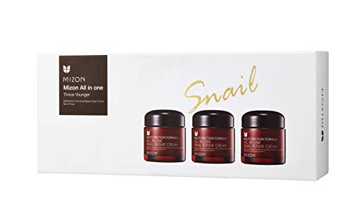 Mizon All In One Snail Repair Cream, Day and Night Face Moisturizer with Snail Mucin Extract (75ml x3)