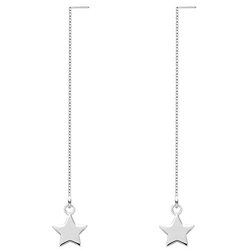 OwMell 925 Sterling Silve Star Drop Dangle Earrings Platinum Plated Long Charm Threader Tassel Earrings
