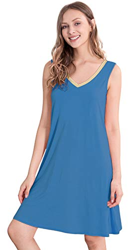 WiWi Women's Bamboo Sleeveless Chemise Nightgowns S-4X, Prussian Blue, Small ()