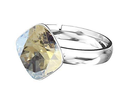 Beforya Paris - RHOMBUS SQUARE - Moonlight - Jewellery with Swarovski - 925 Sterling Silver Ladies Ring Size Adjustable