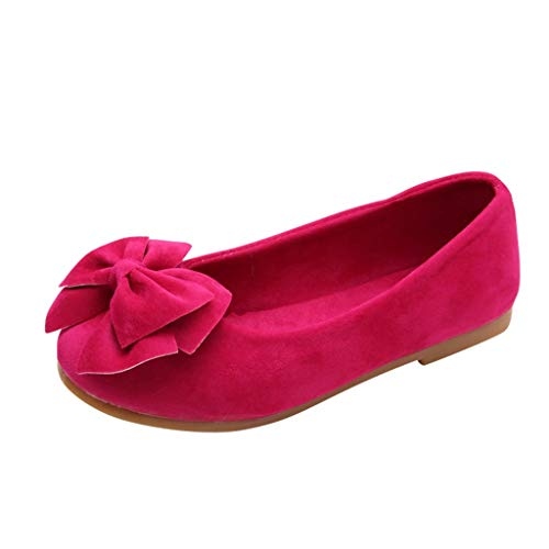 Baby Girls Dress Shoes Slip on Ballerina Flats Bows Shallow Mouth peas Shoes Dance Shoes (Little Kid/Big Kid) Hot Pink