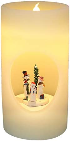 Wondise Large Flameless Flickering Candles with Music and 6 Hour Timer, Battery Operated Snowman Swirling Singing LED Pillar Candles Real Wax Warm Light Christmas Decor Candle 4.3 x 8 Inches