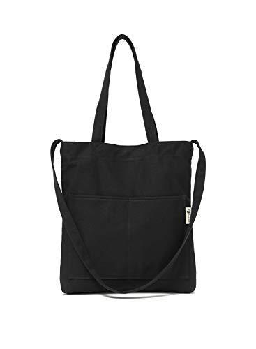 Canvas Tote Bag Handbag Shoulder Bag Or Crossbody Bags Purses For Men And Women (Upgrade Black Pocket)