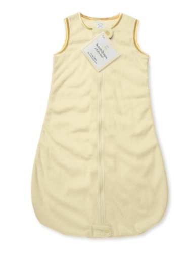 Velvet Sleeping Sack with 2-Way Zipper, Pastel Yellow with Yellow Trim, 6-12MO ()