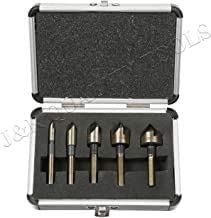 Premium M2 Countersink Bit Set with Carrying Case 5 PieceTri-Flat Shank