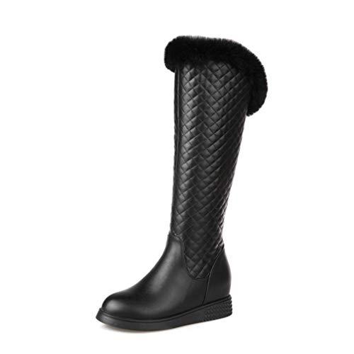 Pu ons Invierno Cachemir Altas botas Nieve Artificial Para Casual Invierno damas Mujer De Cálidas La Botas estudiante Esquí Redonda Slip Punta Más Moda Botas nXf0xqf