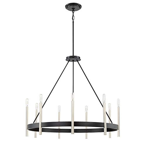 (Quoizel ATH5009K Anthem Candle Chandelier, 9-Light, 540 Watts, Mystic Black (29