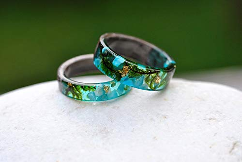 Natural Moss and 24K Gold Women Nature Unique Rings Forest Women Wood/&Resin Ring with Blue Forgot-Me-Not Flower