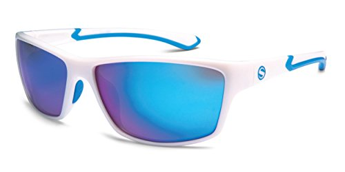 Sunbelt Athletique 314MPWHBL Wrap Polarized Sunglasses, Pearl White & Blue, 57 mm (Sunbelt Sunglasses)
