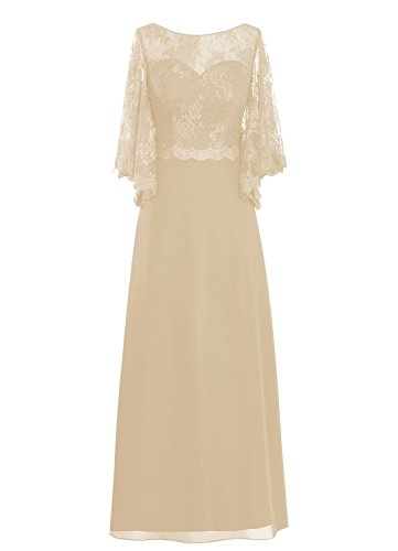 Bride of Sleeve Spitzen the Rot Lang Champagne Mother Women' Fanciest Kleides OFH0nw1q1