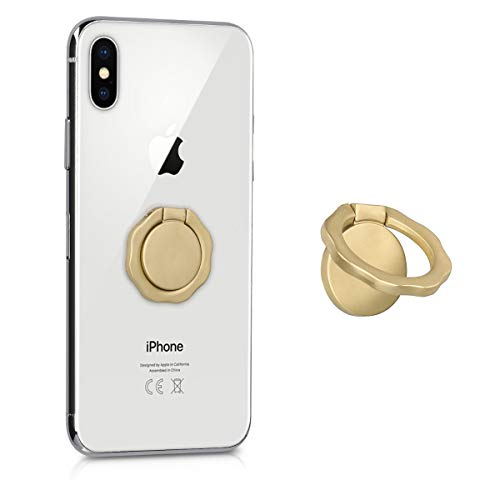kwmobile Ring Stand Finger Holder - Round Wave Cell Phone Grip with 360 Degree Rotating Metal Kickstand Mobile Universal Self-Adhesive - Gold