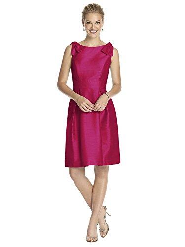 Dessy Women's Cocktail Length Sleeveless Dupioni Dress with Shoudler Bow Detail - Sangria - Size ()