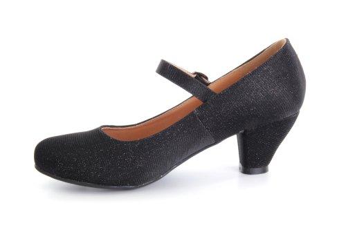 Escarpins Style Mary Jane en Tissu Brillant Noir pour Filles à Talon Large.33