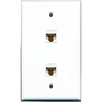 Amazon.com: RiteAV 1 Gang 2 Port Cat6 Wall Plate - White: Home Audio ...