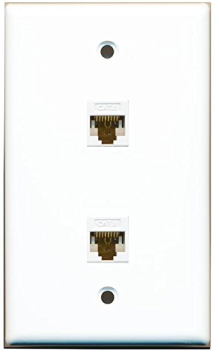 RiteAV 1 Gang 2 Port Cat6 Wall Plate - White (Jack Flush Wall Mount)