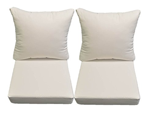 Sunbrella Canvas White Cushion Sets for Patio Outdoor Deep Seating Furniture Loveseat - Choice of Size (23''w X 23''d) by Resort Spa Home Decor