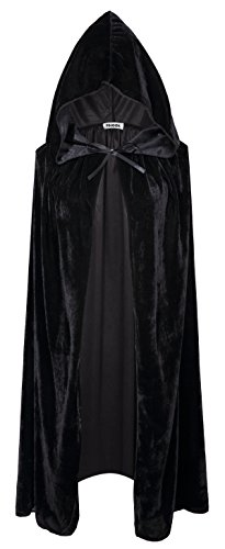 [VGLOOK Kids Hooded Cloak Cape For Halloween Cosplay Costumes ages 8 to14(Black)] (Costume Black Cloak)