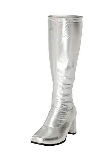 Anni Donna E Stile Settanta Buckle Sessanta Patent Shoes Silver Da Stivali XqZF4wB