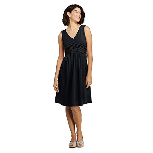 Lands' End Women's Wrap Front Fit and Flare Dress Knee Length, M, Black from Lands' End