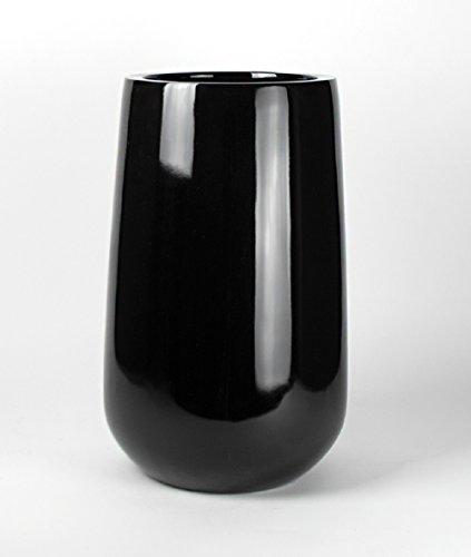 Shiny Black Round Planter Vase Tall Round Bottom Fiberglass Flower