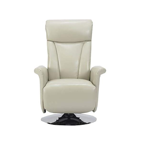 Sime – en Cuir véritable Fauteuil Relax pivotant avec Inclinaison indépendante à Deux Moteurs Maria-2M-PEBEI Blanc Cuir…
