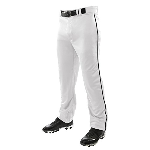 CHAMPRO Unisex Sports Youth Triple Crown Open Bottom Piped Pants, White, Black, Small
