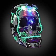 (blinkee LED Color Changing Silver Chrome Skull Face Halloween Mask)