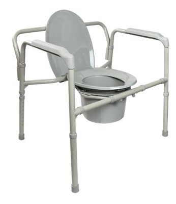 Bariatric Commode Chair, Heavy Duty Folding Steel Frame, Fixed Arm, 650 lb. Capacity, 12 Quart Bucket