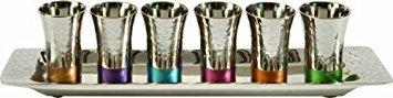 Yair Emanuel - Kiddush Cup Goblet Set of 6 Small Kiddush Cups and Tray Nickel Hammerwork Multicolor (GA-2)