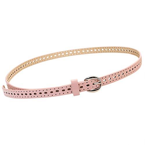(Women Leather Belt Simple Elegant New Women leather Girdle Metal Buckle Pure Color Waistband Belt)