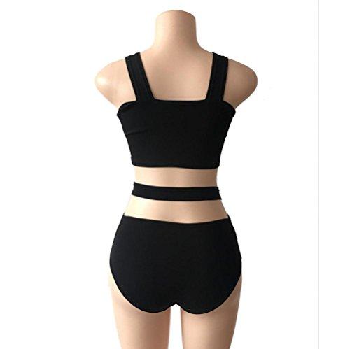 zolimx 1set mujeres traje de baño Bikini vendaje conjunto push up traje de baño ropa de playa Negro