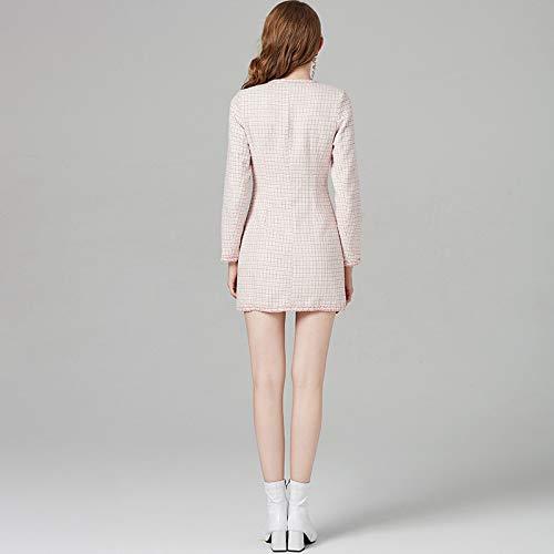 Color Invernale Tweed Slim E Autunnale Rosa Temperamento In Abito Fjthy TqHzwHE