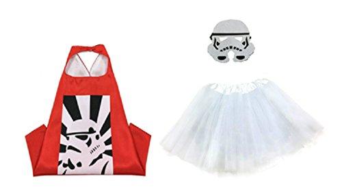 Rush Dance Kids Children's Deluxe Comics Super Hero CAPE & MASK & TUTU Costume (Storm Tropper (White (Cheap Dance Costumes)