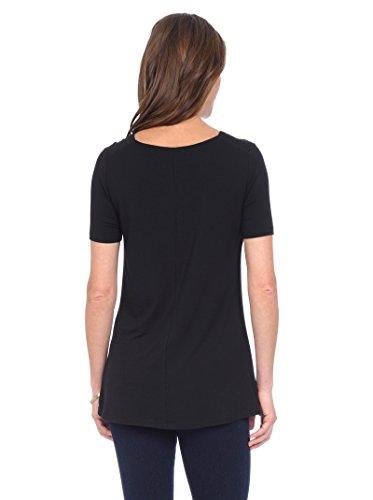Lysse Women's Damaris Short-Sleeve Top w/ Inner Control Tank Black T-Shirt XS