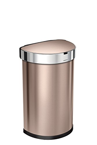 simplehuman 45 liter 12 gallon stainless steel semi round sensor can touchless automatic. Black Bedroom Furniture Sets. Home Design Ideas