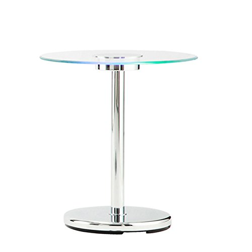 ModHaus Living Modern Style LED Accent Tempered Glass Top Round Shaped Counter Height End Table | Chrome Metal Frame, Living Room Decor - Includes Pen