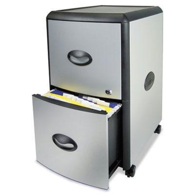 Brand New Storex Two-Drawer Mobile Filing Cabinet Metal Siding 19W X 15D X 23H Silver/Black