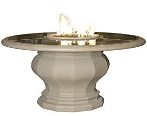 AFD–Inverted firetable de comedor con base de hormigón Top–acabado Natural Gas–Villa (arena)